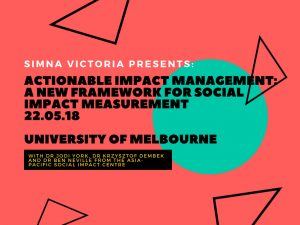 SIMNA VIC Event: Actionable Impact Management – A New Framework for Social Impact Measurement